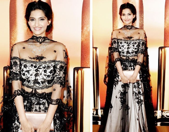 Another off-shoulder black blouse worn by her at the Chopard Party