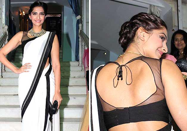 Sonam's black and white saree