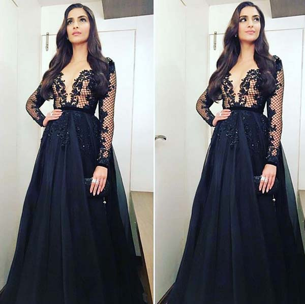 Sonam kapoor in a Paolo Sebastian gown for Neerja promotions