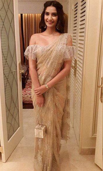 Sonam in Shehla Khan's off-shoulder blouse