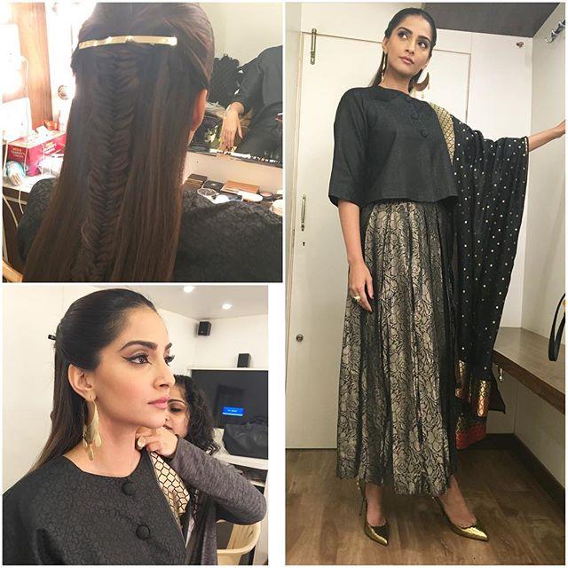 Sonam Kapoor in Ekaya attire for Neerja Promotions