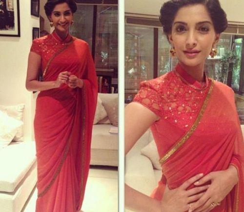 Sonam Kapoorin Chinese Collar Blouse