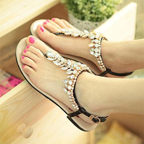T strap sandals