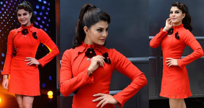 Jacqueline Fernandez was spotted wearing a designer red dress by Gauri and Nainika on the sets of Sa Re Ga Ma Pa show.