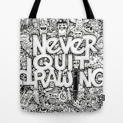 Tote bags with doodles