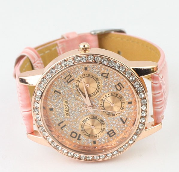Pink trendy watch with big dial