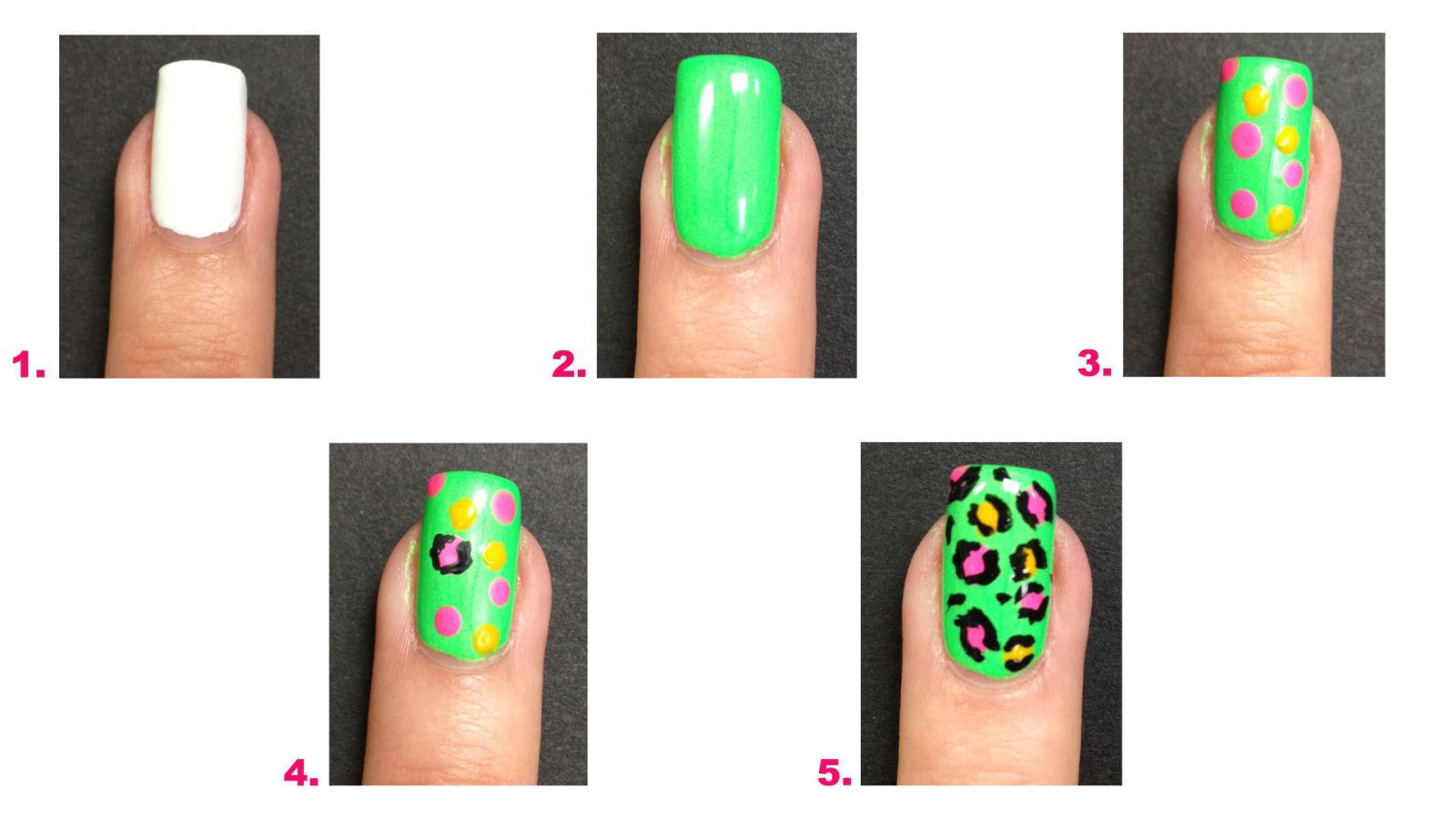 Neon pop art nail art design