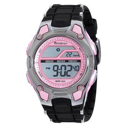 Pink display digital watch