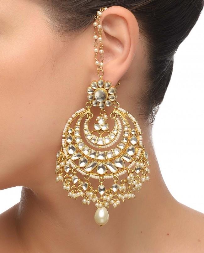 Kundan work earrings