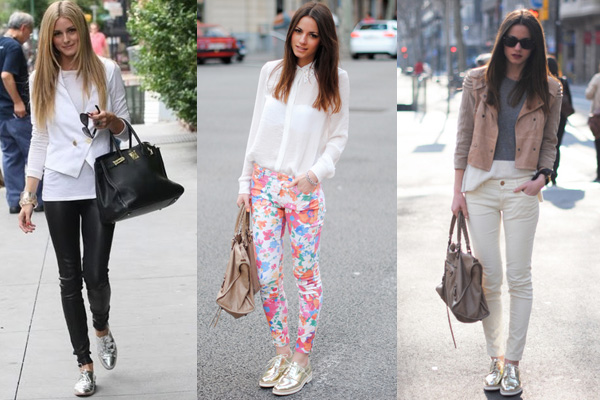 Metallic sneakers and shoes
