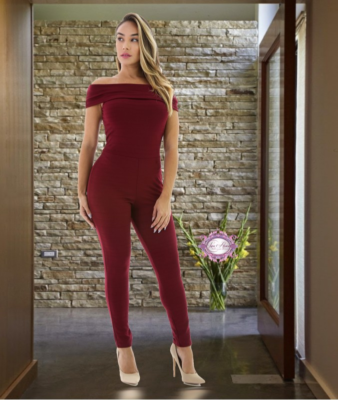 The model in a fold over jumpsuit.