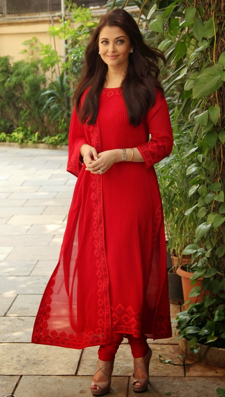 Aishwarya Rai Bachchan in red Salwar Kameez.