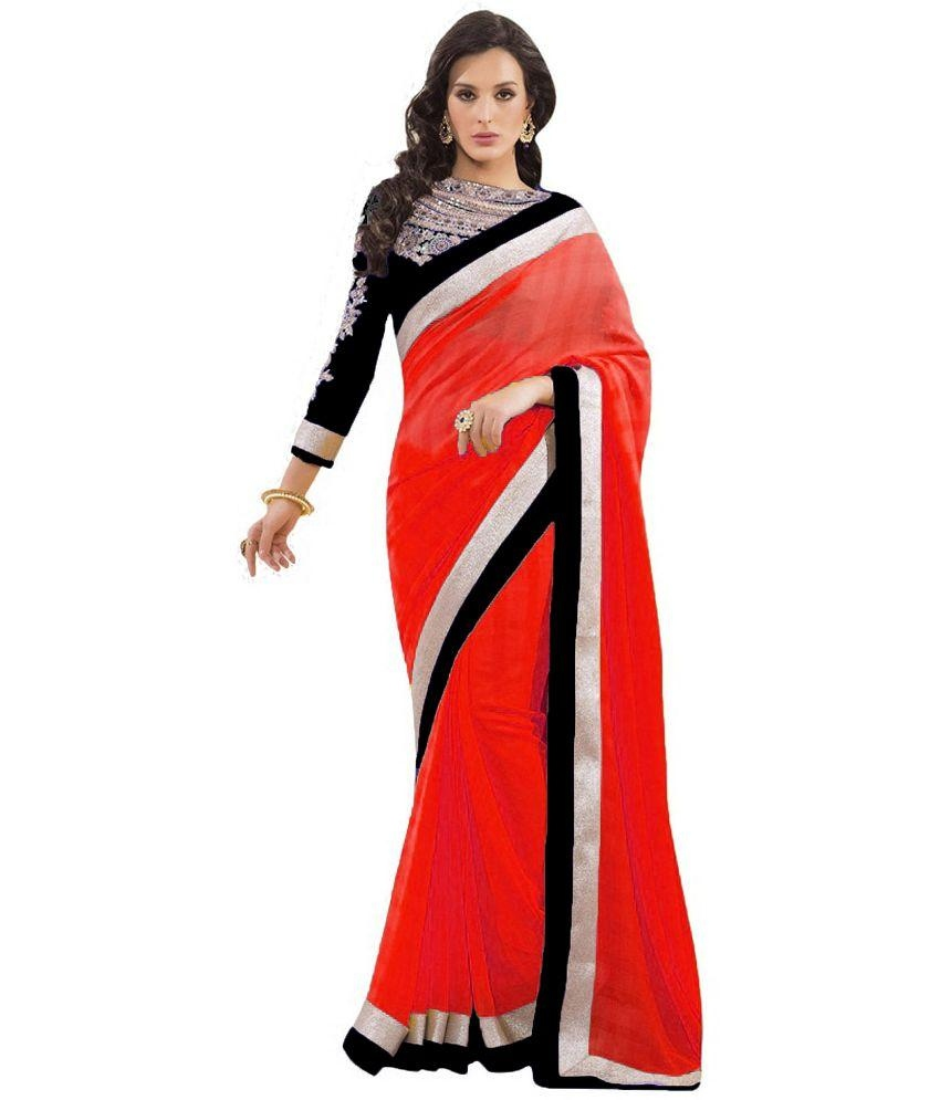 The model in designer red chiffon saree.