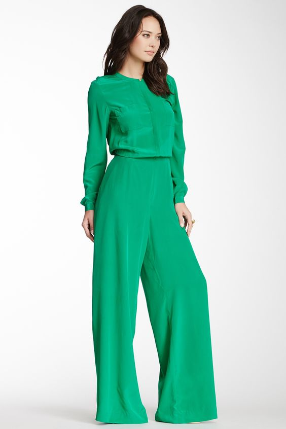 The model in long sleeve jumpsuit.