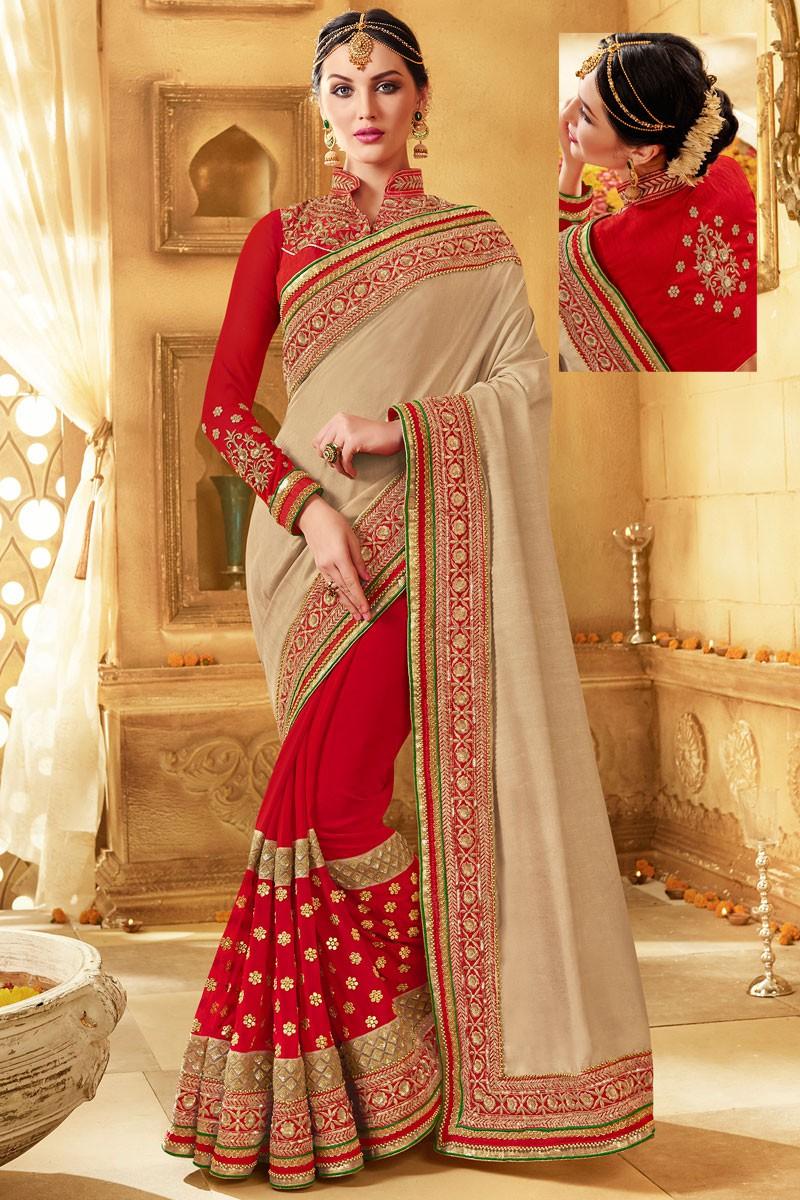 The model in Venetian Red and Tan Brown Mysore Silk Saree.