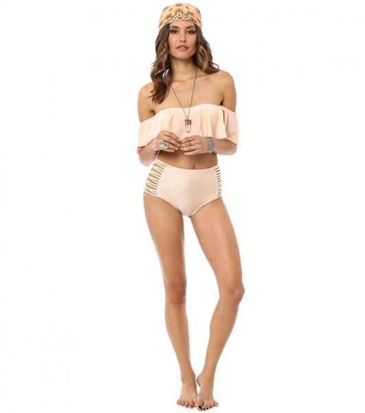 Bikini top with high waist bottoms
