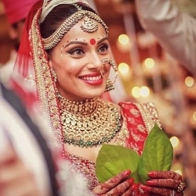 Bipasha Basu in a traditional Wedding dress.