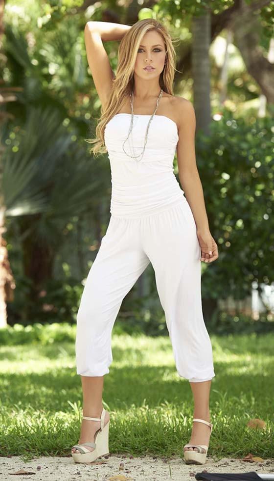 The model in White Capri jumpsuit.