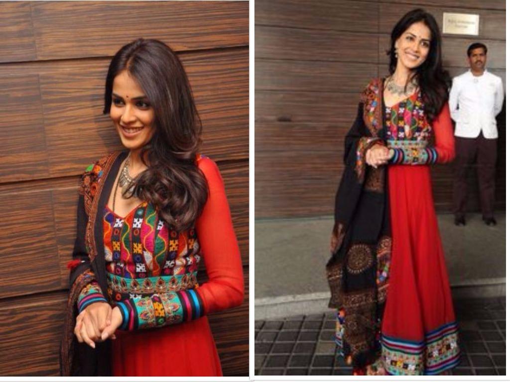 Genelia D'Souza in Kurti with Kutch embroidery.