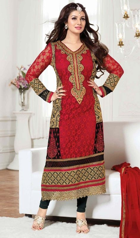 Ayesha Takia in a long straight cut black and red Georgette suit embellished with decorative cut work lace.