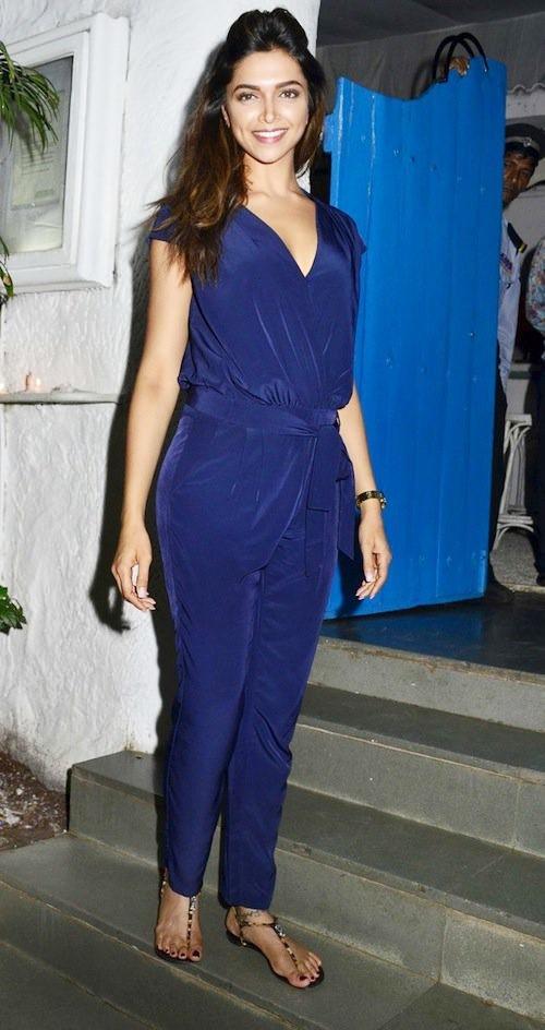 Deepika Padukone in blue colored Jumpsuit.
