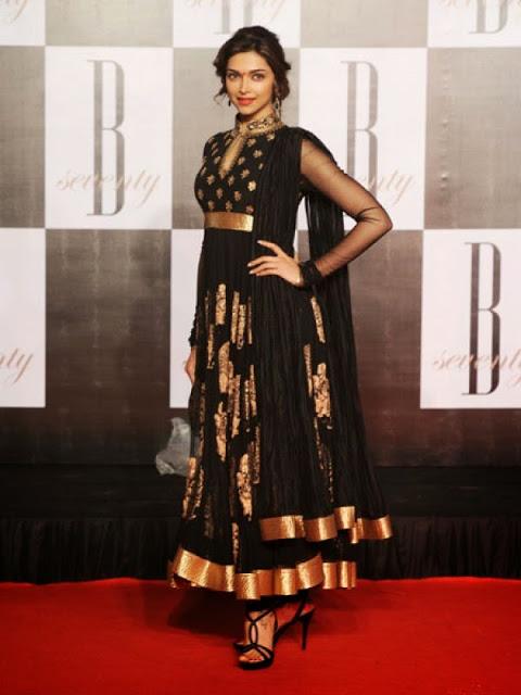 Deepika Padukone in Black and Golden Crushed Anarkali.