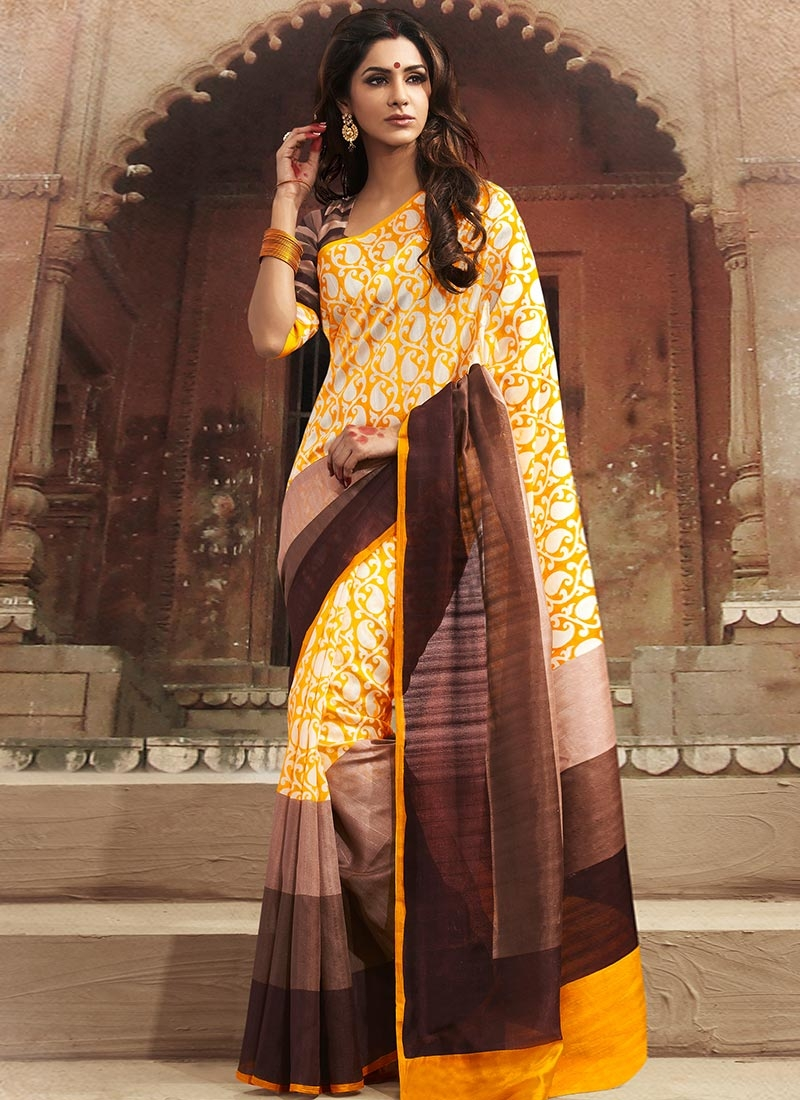The model in yellow brown bhagalpuri silk saree.