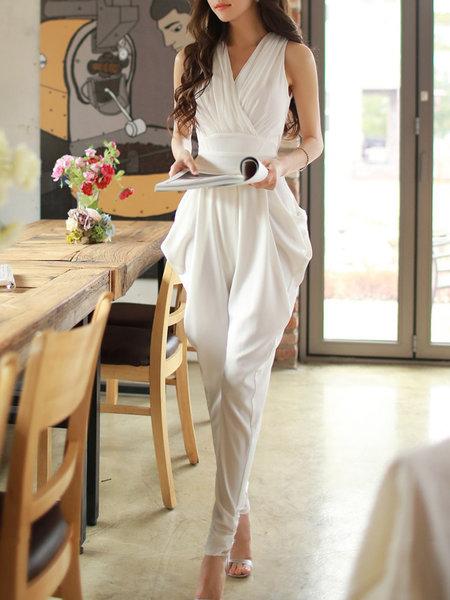 The model in plain spandex jumpsuit.