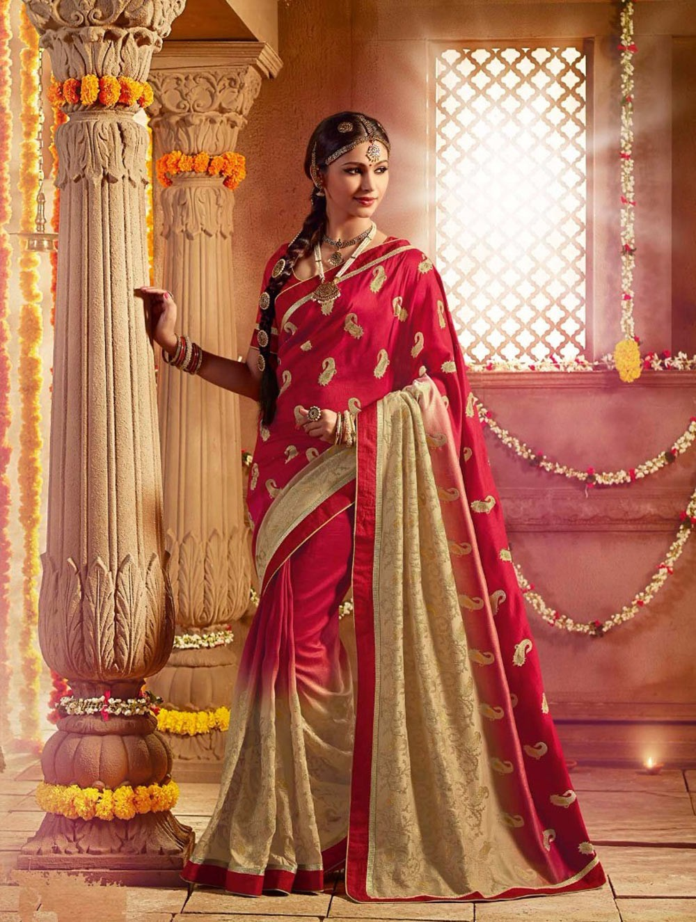 The model in South Indian designed silk saree.