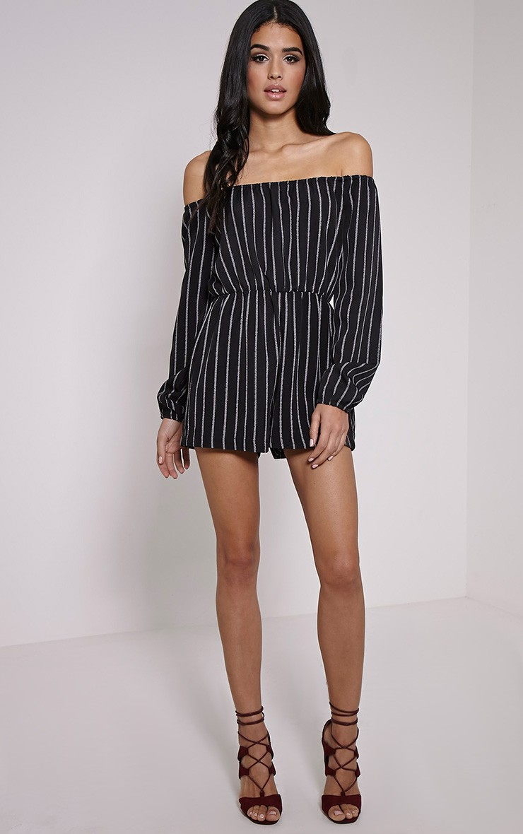 Black Romper with white strips