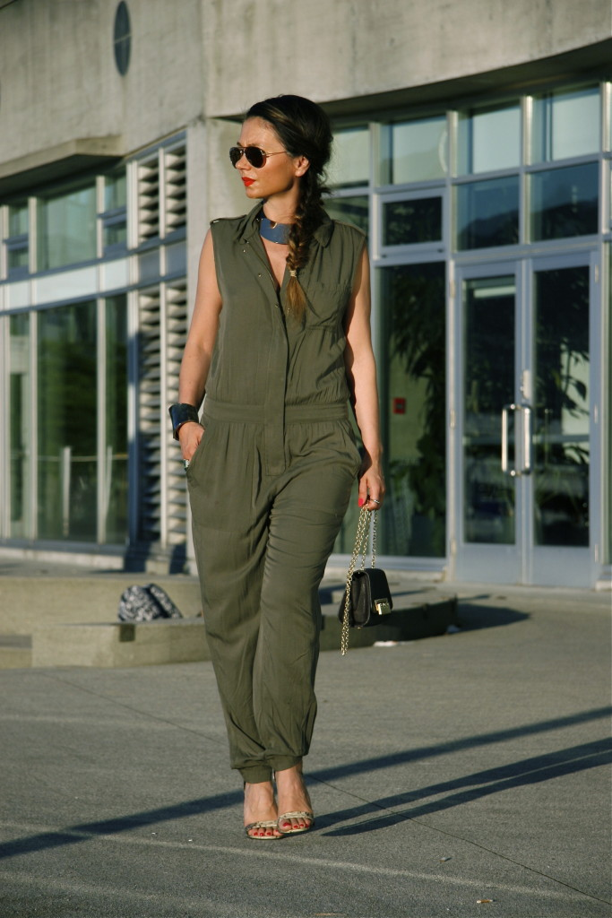 The model in a Slouchy Green Jumpsuit.
