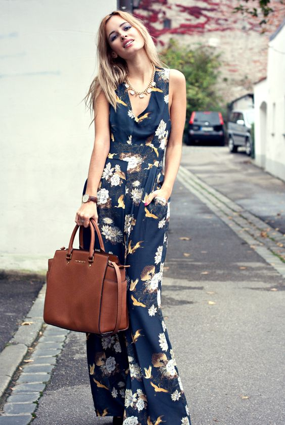 The tall model in a jumpsuit.