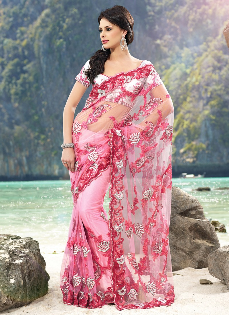 The model in Net Saree.
