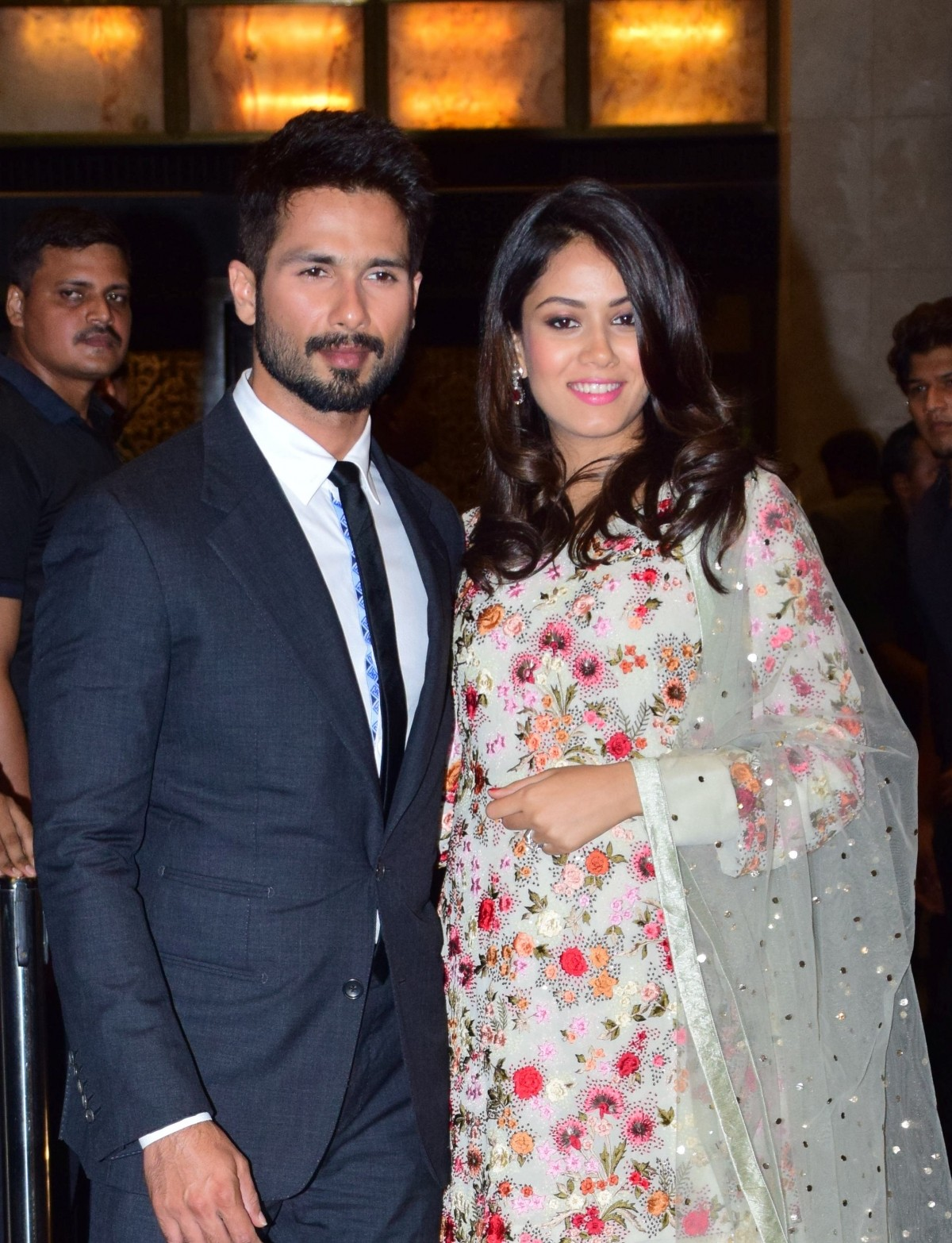 Mira Rajput Kapoor in Double Layered Tunic with Multi-color Floral Motifs.