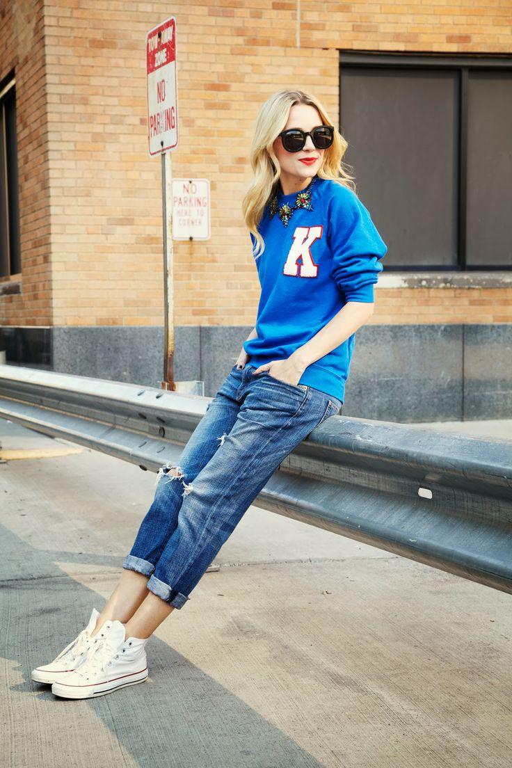 Blair Eadie in tomboy look with boyfriend jeans.