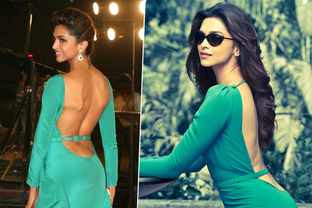 Bollywood actress Deepika Padukone in a backless dress.