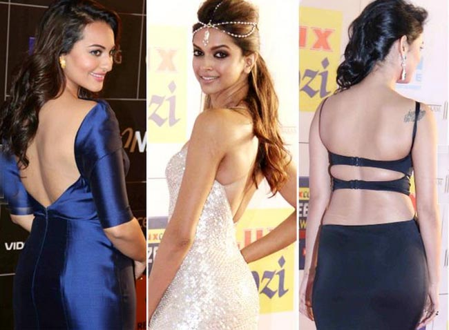 Bollywood actresses in backless dress.