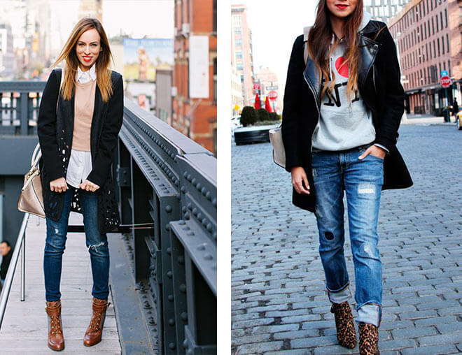 The model in ankle boots with skinny jeans.