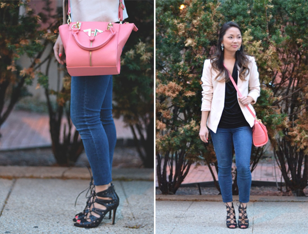 The model in skinny jeans and vince camuto strappy sandals.