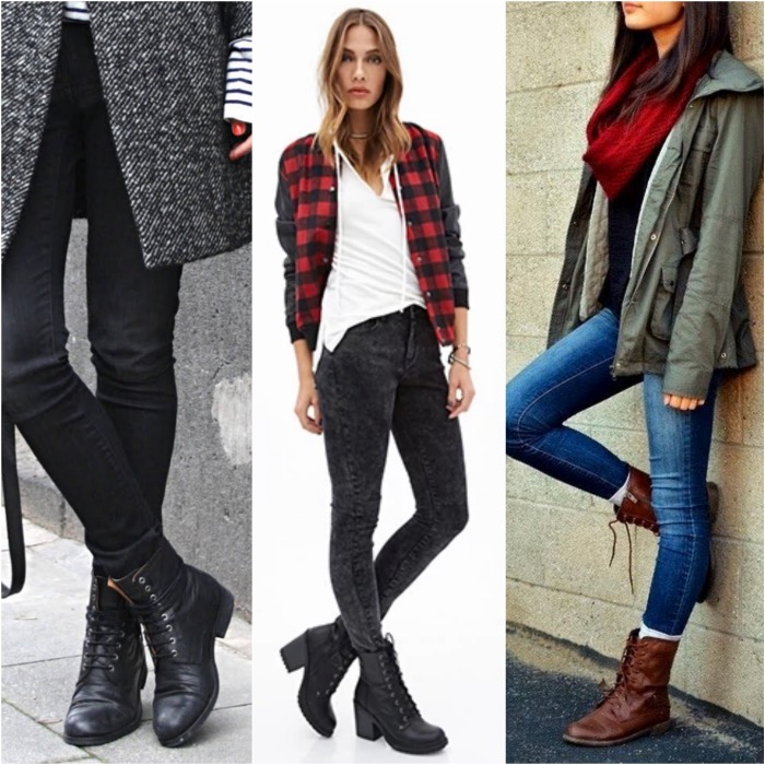 Combat Boots and Skinny Jeans.