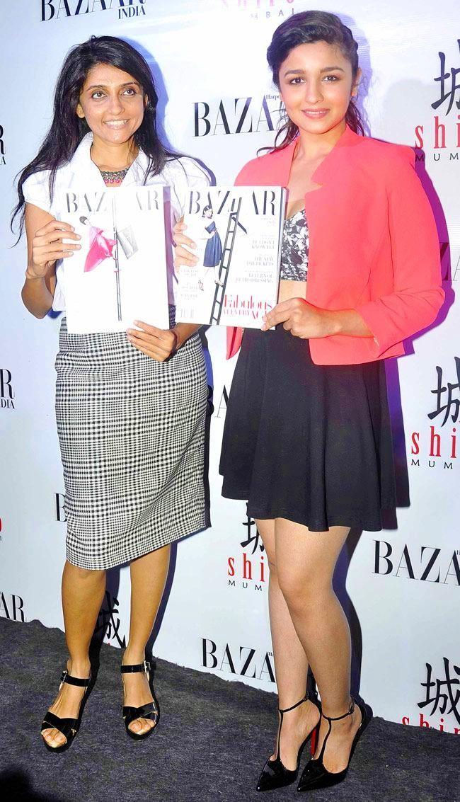 Bollywood Actress Alia Bhatt in Blazer with Crop Top.
