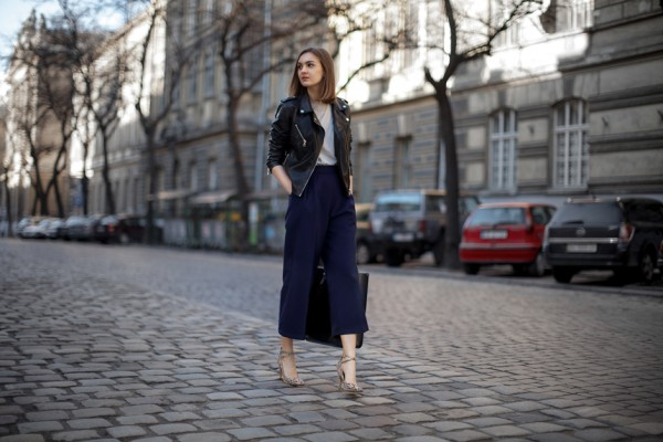 The model in Blazer with Culottes.