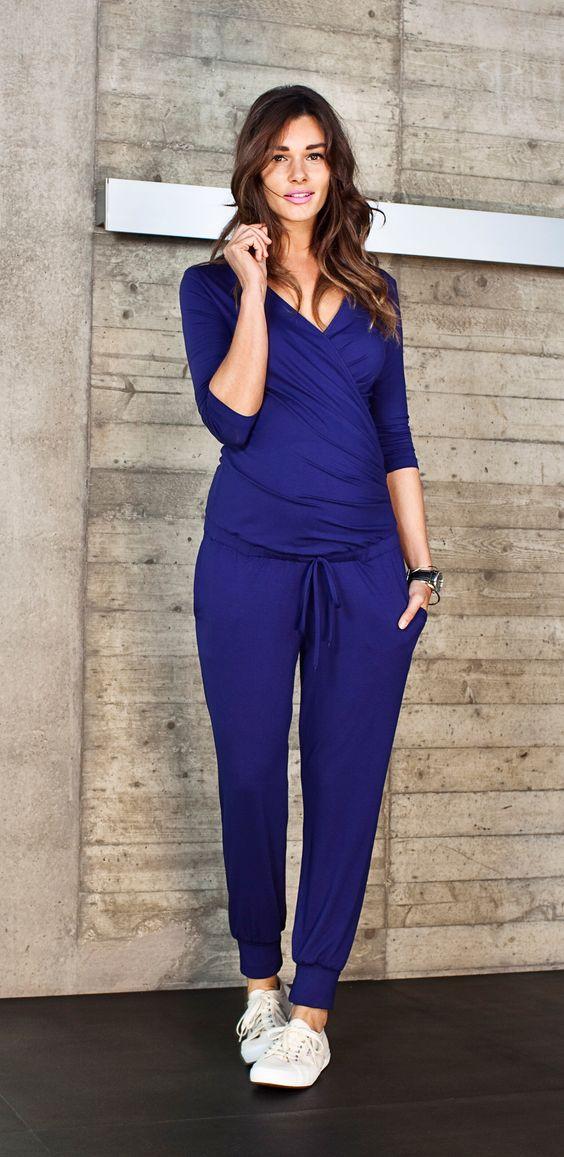 The model in blue dress.