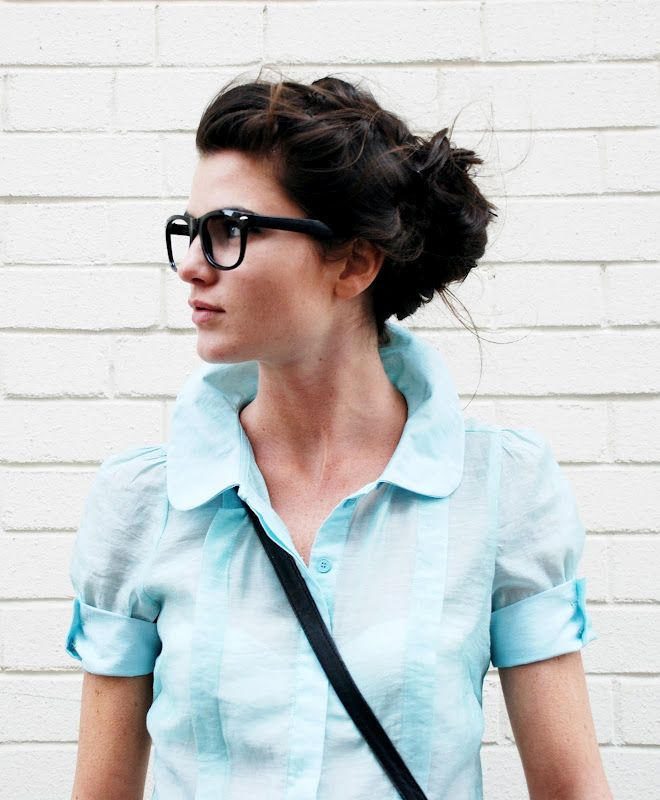 Glasses with an up-do.