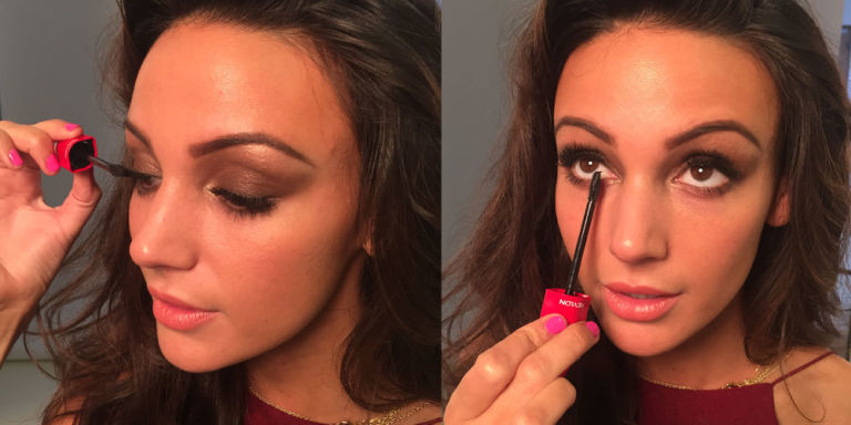 Michelle Keegan is applying mascara.