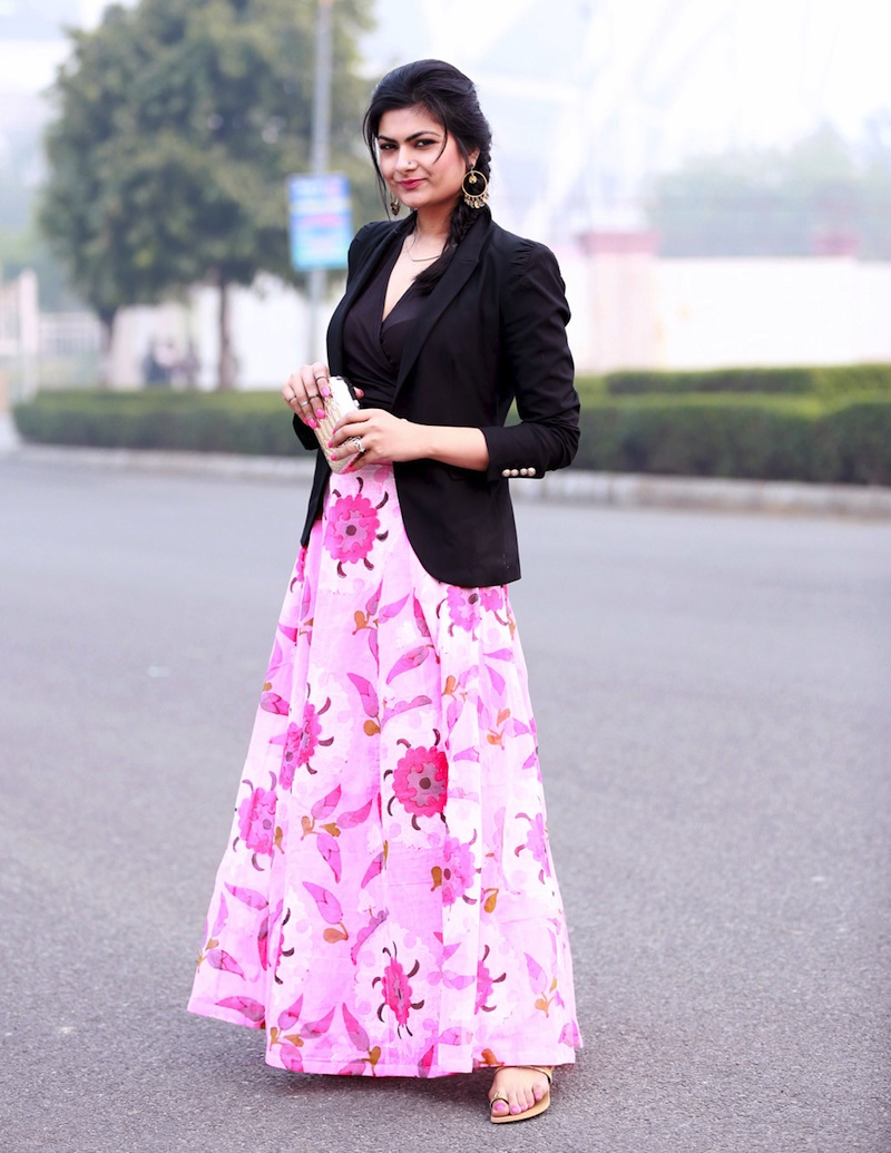The model in blazer with Floral Maxi dress.