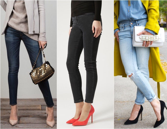 Heals to wear with skinny jeans pumps.