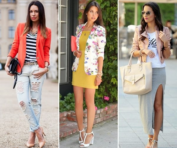 The models in blazer outfit with jeans, dress and maxi skirt.