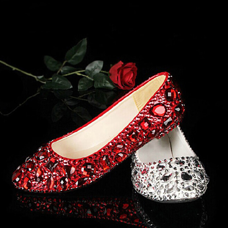 Beautiful red and silver flat wedding shoes.