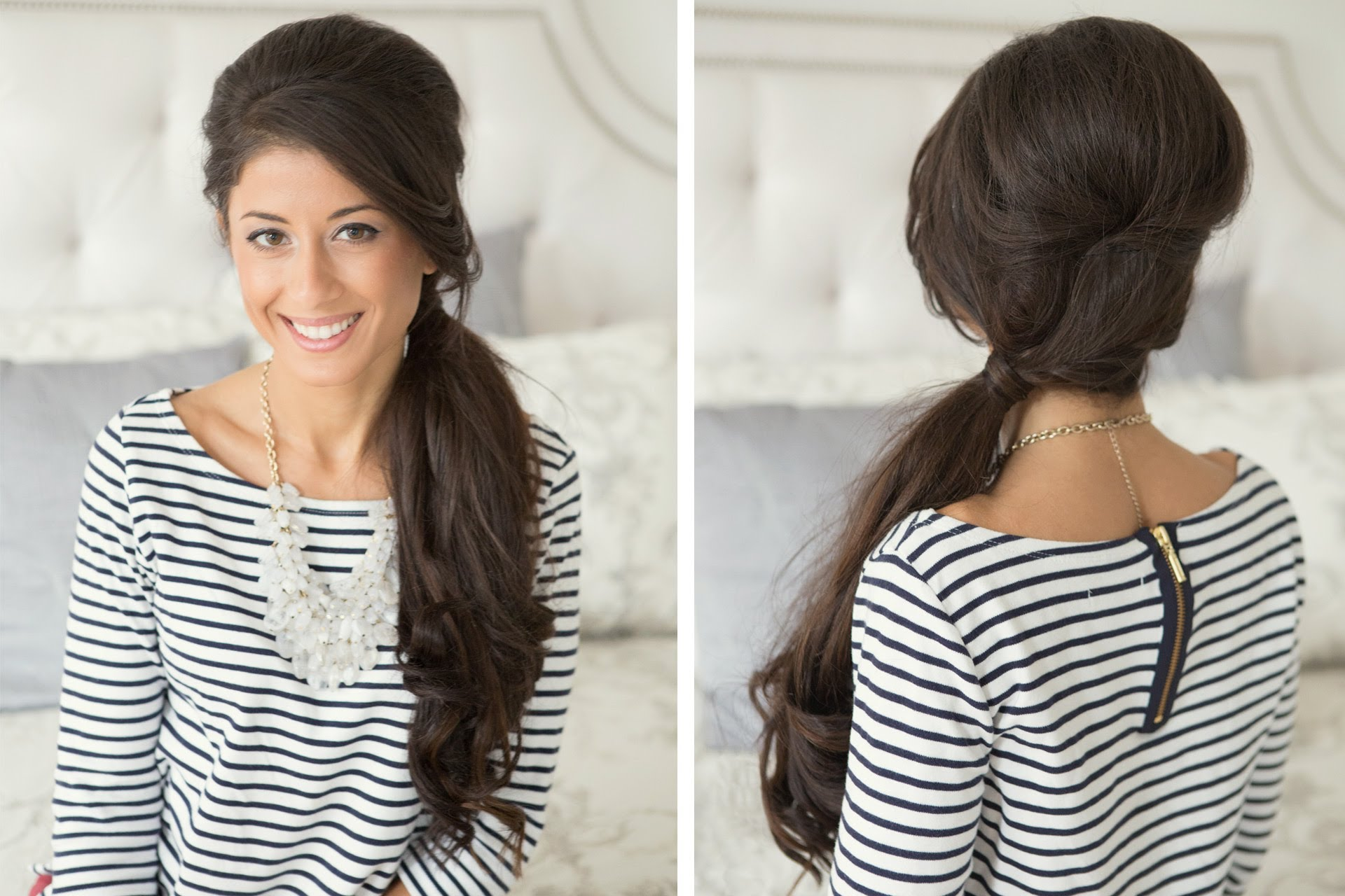 The model with low wavy side pony.
